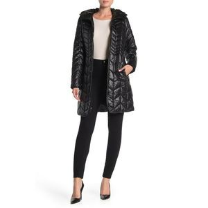 Kenneth Cole New York Quilted Puffer Coat S Black